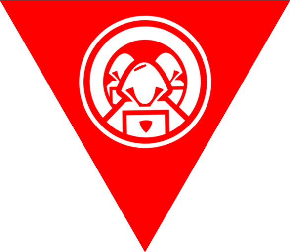 A red triangle with white icons in the middle of three hooded hackers on laptops - symbolising the work of a Red Team.